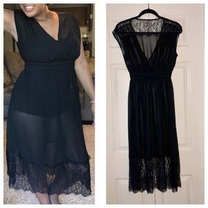 $7 SALE Sheer Black Lace Cover Up Dress S/M